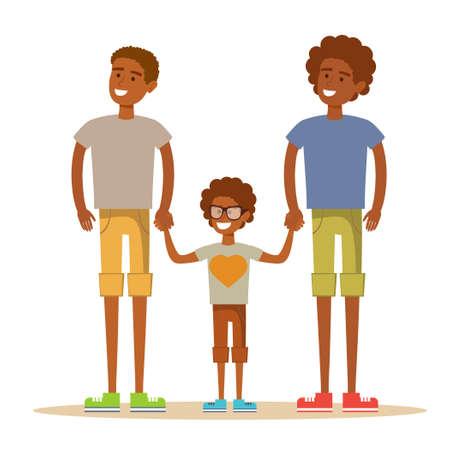 Happy Aframerican gay men posing with their child. Stock flat vector illustration. Illustration
