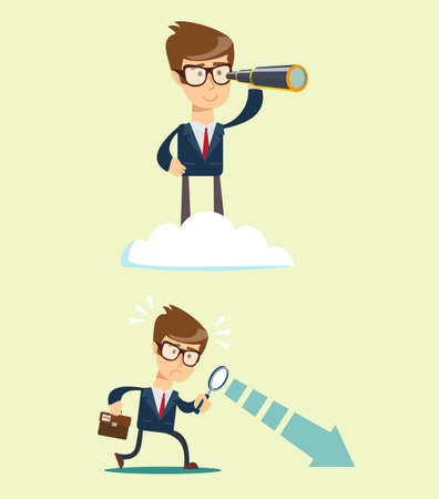 Successful businessman with telescope on cloud above others . Business Vision Concept. Ilustração
