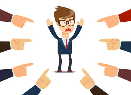 businessman with fingers pointing at him Illustration