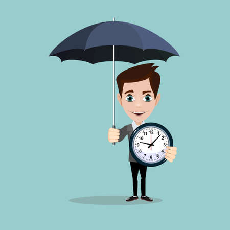 clock: Man with with alarm clock. Illustration