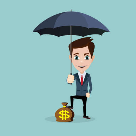 Man standing holding parasol protecting his money. Ilustrace