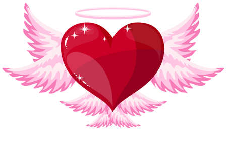 A love heart angel icon for Valentines Day on a white background. Illustration