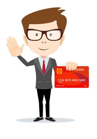 elite: Man in suit shows plastic credit flat vector illustration on a white background. Illustration