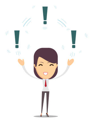 Woman with a exclamation mark flat vector illustration.