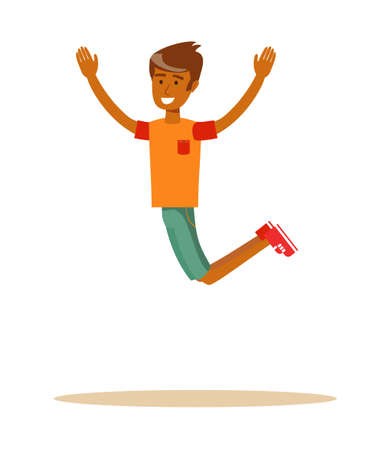 Joyous man jumping with raised arms