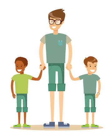 portrait of a father with his two children having a nice time. Mixed race family. Cartoon illustration, vector.
