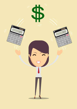 Accountant enjoying of money and her work