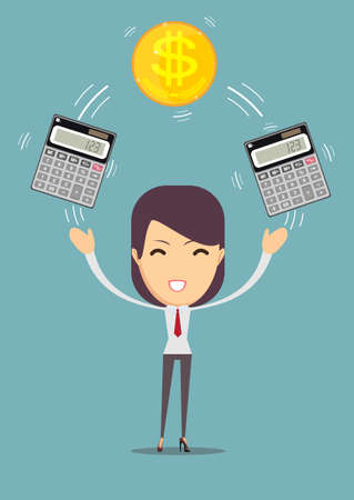 Business woman with calculator and money. Profit, finances concept. Illustration