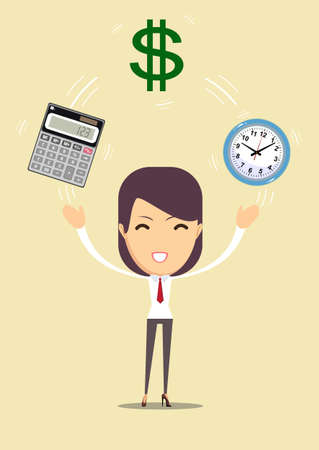 Bookkeeping services and time management illustration.