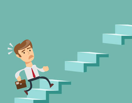 Man climbs the steps of collapsing ladder Illustration