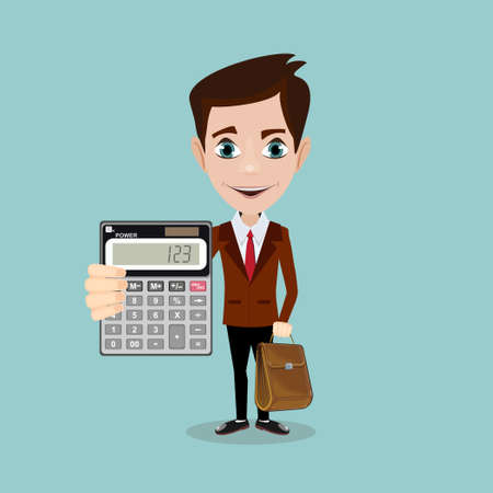 tax accountant: Cartoon businessman or accountant is showing an electronic desktop calculator.