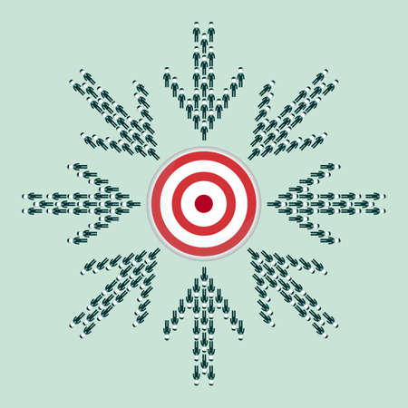 Large group of people seen from above gathered together in the shape of a arrow hitting the target center. Stock flat vector illustration. Illustration