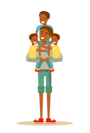 Happy black father with many kids. Illustration