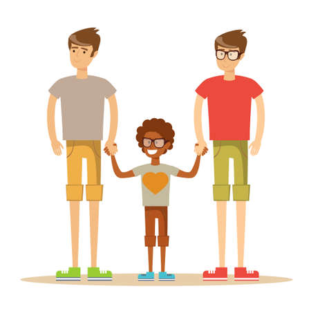 interracial: Happy mixed-race gay family . Stock flat vector illustration.