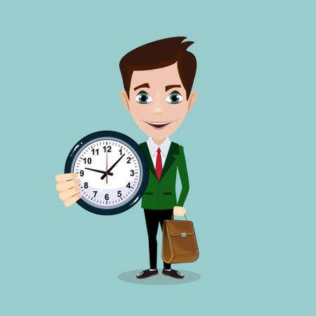Hombre de negocios con despertadores, que simboliza la gestión del tiempo. Ilustración de vector plano de valores.