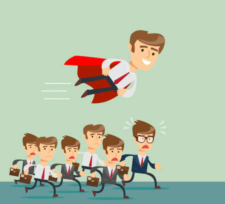 Illustration of businessman with red cape fly pass his competitor Ilustração