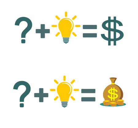 Solving a problem and make money icon.