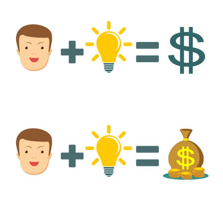 Idea make you happy and rich. Man plus brain equal money. Stock flat vector illustration.