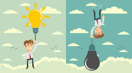 man with idea bulb as balloon . Set. Stock flat vector illustration. Stock Photo