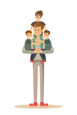 Gelukkige vader Met 3 Kinderen