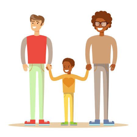 interracial: Happy mixed-race gay family .