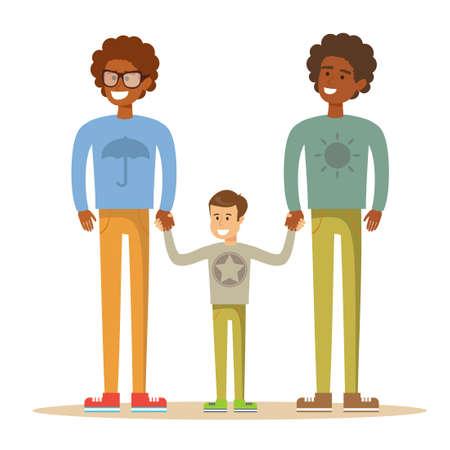 Gelukkig homopaar met zoon. Stockfoto - 89408019