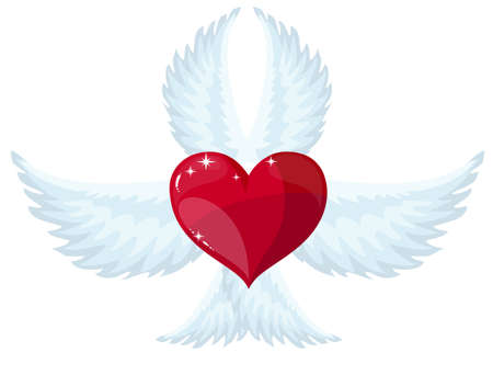 Wings and heart, vector Illustration