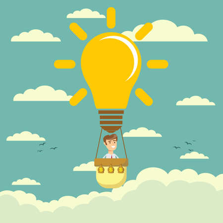 Businessman fly in lightbulb like a hot air balloon
