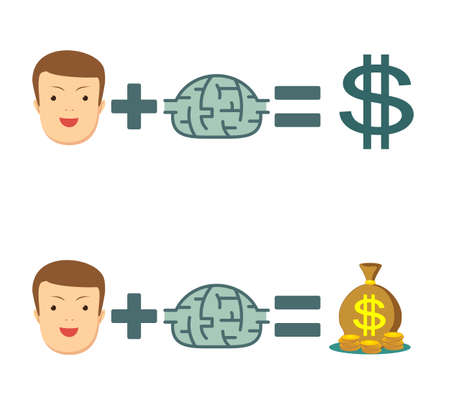 Man plus brain equal money. set. Money and ideas make you happy and rich. Stock flat vector illustration.