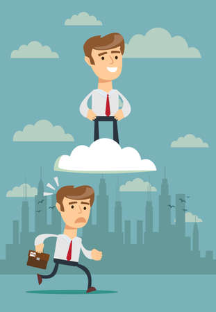 successful businessman on cloud . Illustration