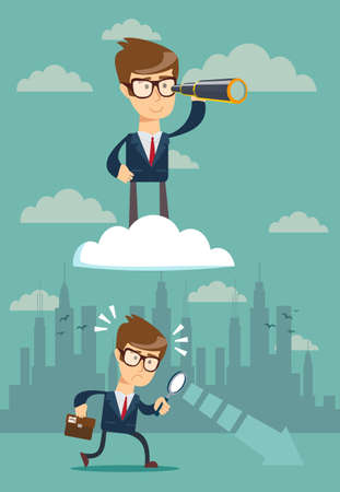 successful businessman with telescope on cloud above others Illustration