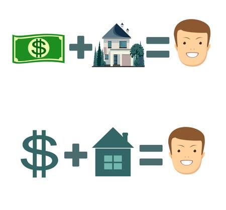 Money plus house equals happy investor vector illustration set Illustration