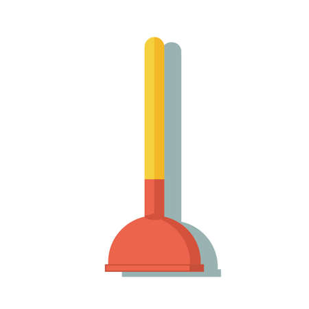 Toilet plunger isolated icon in flat style. Stock Photo