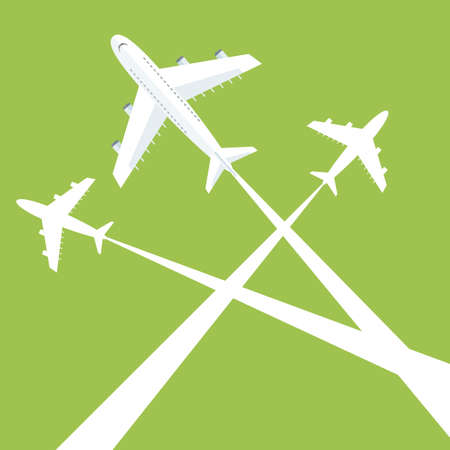 Silhouettes planes in sky. illustration. Traces of the plane Illustration