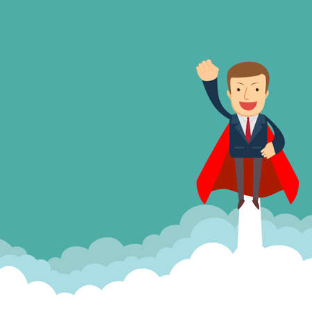 Office super man flying to achieve his goal