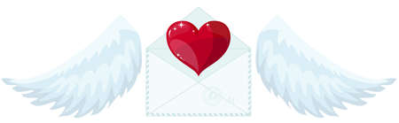 Illustration envelope with wings like Cupid sending love and heart. Valentines Day. Letter icon symbol simple abstract on background. vector.