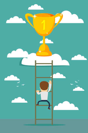 Businessman climbing to success. A man trying to get the trophy illustration.