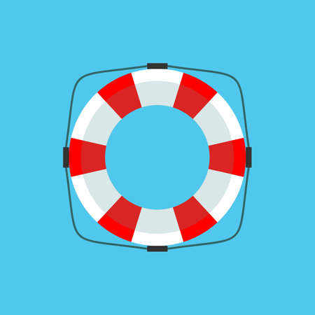 Lifebuoy icon in flat style isolated on a background. Simple vector life ring or life preserver symbol. Stock flat vector illustration. Vettoriali