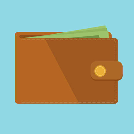 Wallet with money vector illustration. Wallet isolated on colored background. Brown flat wallet. 向量圖像