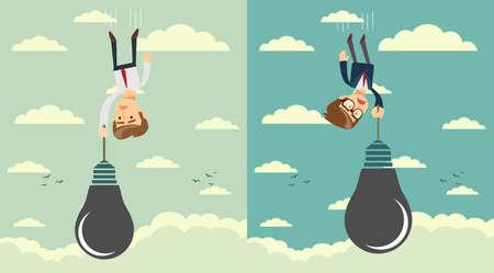 Sad businessman falling holding idea bulb as balloon . Set. Stock flat vector illustration. Ilustração