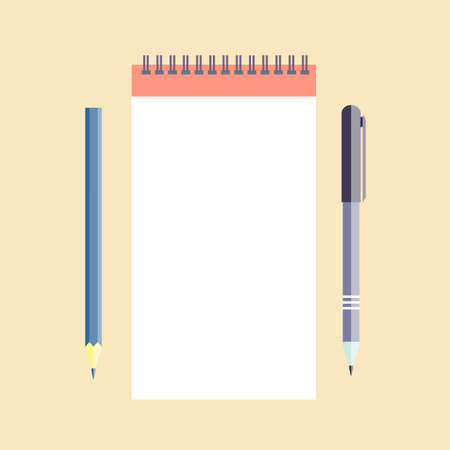 Notepad with pen and pencil. Vector illustration
