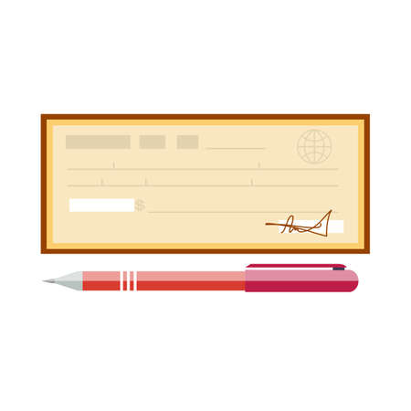 Cheque vector illustration. Cheque icon in flat style. Stock Photo