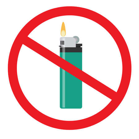 No open fire sign. Forbidden sign with flip lighter glyph icon. Stop symbol. No smoking prohibition. Negative space. Vector isolated illustration
