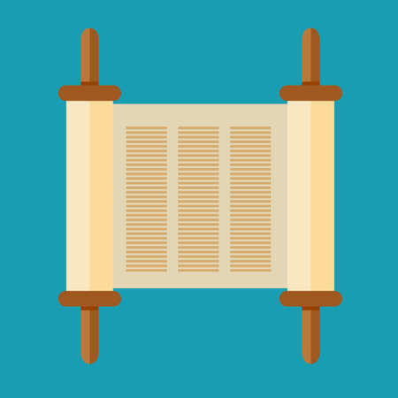 Torah scroll icon in flat style vector illustration.