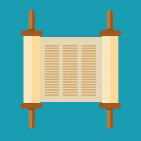 Torah scroll icon in flat style vector illustration.
