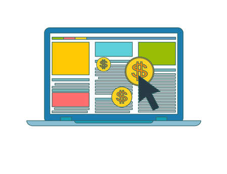 Concept of online or internet advertising. Laptop icon with dollar symbol ad an arrow on screen Illustration
