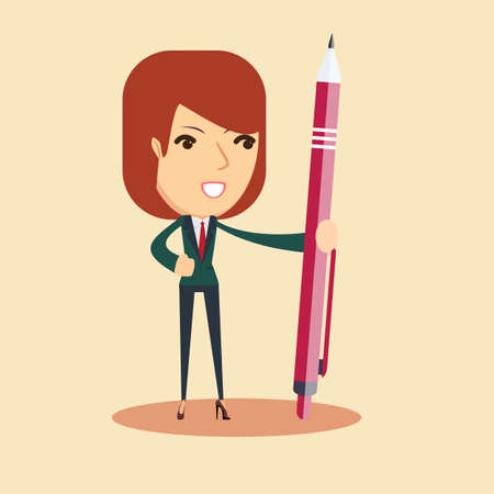 Caricature of a woman with ballpen illustration Illustration