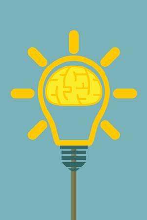 Brain in lamp. Vector illustration for your business. Ilustração