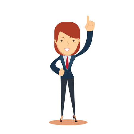 Smiley businesswoman pointing up. Isolated on white background. Stock flat vector illustration.