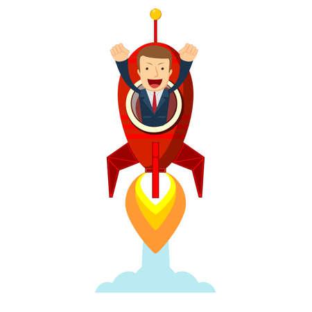 Businessman in a rocket. Business Start up concept.